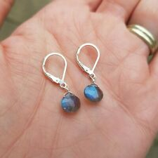DESIGNER STERLING SILVER LABRADORITE EARRINGS LEVERBACKS WIRE WRAPPED JEWELLERY