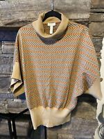Charter Club Women's Size Medium Cotton Poly Sweater 3/4 Sleeve Camel Striped