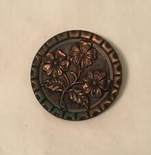 Antique & Large Metal Button with Flowers detailed 1 1/2 inch