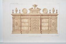 AM001 Lithographie originale ameublement bibliothèque Renaissance pour cabinet