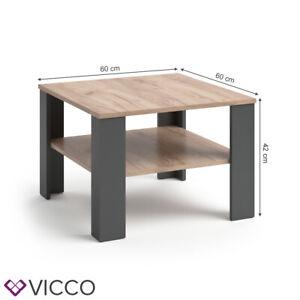 VICCO Couchtisch HOMER Anthrazit Sandeiche 60x60 cm - Sofatisch Kaffeetisch