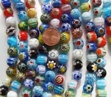 38 Perles 10mm verre style Millefiori Fleurs mix couleurs DIY création bijoux