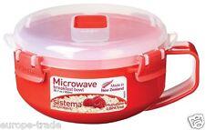 Sistema Microwave Porridge Bowl 850 ml Red Storage Lid Hot Food Cooking