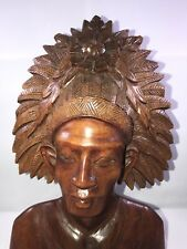Vintage Indonesian / Polynesian Hand Carved Wood Bust Statue W/ Hair Dress