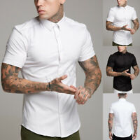 New Mens Casual Formal Shirts Slim Fit Shirt Top Short Sleeve Muscle Shirt Tops