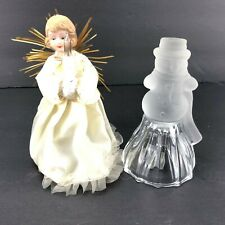 Vintage Christmas Porcelain Head Angel Crystal Frosted Snowman Bell Set 2