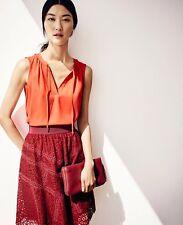 NWT Ann Taylor Lace Full Skirt Size 0 Dark Ruby Red Burgundy 023