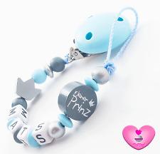 Schnullerkette mit Namen ♥ kleiner Prinz ♥ Krone ♥ Baby Junge ♥ silber Geschenk