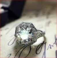 3Carat White Round Diamond Unique Vintage Engagement Wedding Ring 14k White Gold