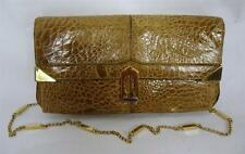 EXQUISITE VINTAGE BROWN CROCODILE SKIN CLUTCH SHOULDER BAG CHAIN STRAP
