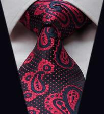 Mens Tie in Polka Dot Satin Dark Navy & Red Wedding Floral Paisley