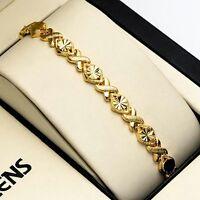 "Women Bracelet 7.3"" Chain Charm Link 18K Yellow Gold Filled Fashion Jewelry Hot"