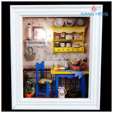 3D wood frame LED Light dollhouse room miniatures kit leisurely lunch with cover