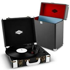 Schallplatten Spieler Vinyl USB Rekorder Stereo Lautsprecher + Koffer  schwarz