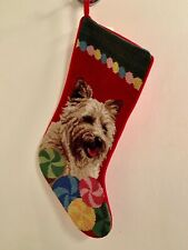 Cairn terrier needlepoint stocking- not a kit