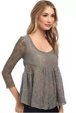 NWT FREE PEOPLE Gracie Floral Lace XS Large Peplum Top Sweater Washed Olive $98