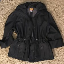Ruby Rd Jacket Coat Size 6 Drawstring Waist. Dk Gray Button Front Orig$72 (H413