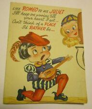 Vintage Valentine Romeo Juliet 1950s Card Mandolin Balcony Valentine's Novo Card