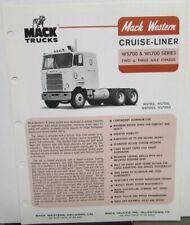 1977 Mack Western Trucks Cruise Line Diagrams Dimensions Sales Brochure Original