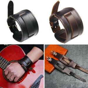 Retro Men's Black/Brown Wide Leather Watchband Biker Cuff Wristband Bracelet