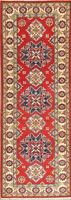 Geometric 2x6 ft RASPBERRY RED Runner Kazak Pakistan Oriental Hand-made Wool Rug