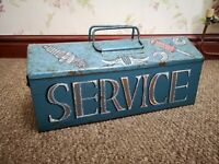 Vintage Metal Tool Box pinstriped service kit vw hot rod custom american classic