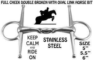 STAINLESS STEEL-Full Cheek Double Broken With Oval Link Horse Bit