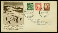 New Zealand 1935 FDC franked with ½d, 1d, 1½d/Birds/Ski