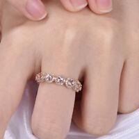 2Ct Round Cut Morganite Half Eternity Wedding Band Ring 14K Rose Gold Finish