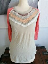 Free People Spring Bound Boho hippy  Raglan/Crochet Top Size 8/10 new