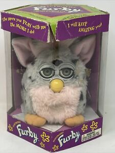Furby Leopard Pink & Gray with Black Spots 1998 ( Electronic Model 70-800 ) New