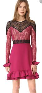 New Three Floors Rosa Dress Wine Lace Frill Hem Party Dress Size 8 - 10