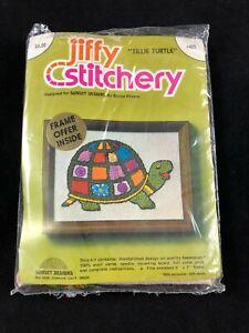 "Jiffy Stitchery Tillie Turtle Crewel Embroidery Kit Vintage Colorful 5"" X 7"""