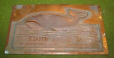 THE SPOUTING WHALE KENT FIREWORKS CHESTERTOWN MD BRASS PRINTING PLATE RARE