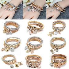 Women 3Pcs/set Gold Silver Rose Gold Bracelets Cuff Rhinestone Bangle Jewelry