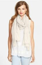 """$99 NORDSTROM WOMENS IVORY CASHMERE SILK BLEND SCARF 42"""" X 80"""" NEW WITH DEFECT"""