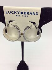 $29 Lucky Brand two  Tone bohemian  decorative Hoop Earrings 336A