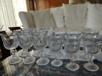 Set 12 Heavy Vintage Pressed Glass Water & Wine Goblets