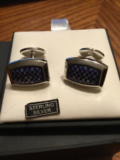 David Donahue Sterling Silver Lapis and Pearl Cufflinks