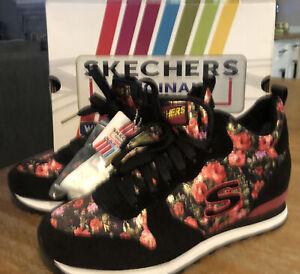 Women's 8 M SKECHERS Originals OG 85 Hollywood Rose Black Shoes Sneakers Floral
