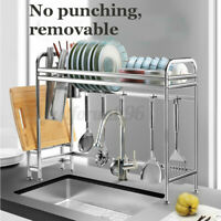 Large Stainless Steel Dish Rack Over Sink Drain Drying Holder Shelf Organizer US