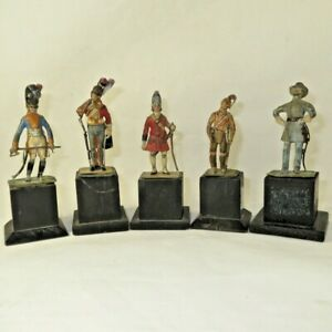 5 Stadden Figures on monument bases 1 ACW, 3 British Officers, 1 Native American