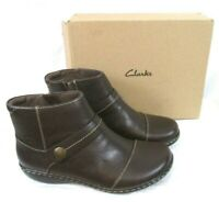 Clarks Collection Leather Ankle Boots 6W Dark Brown Ashland Pine  A371726 BR15