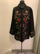 Nancy Mac Embroidered Flower Wool Coat Size 2/UK 12