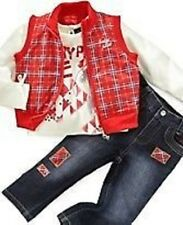 NEUF BABY PHAT 3 pièces tenue 24 mois rouge jacketop JEANS authentique