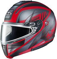 HJC Adult Red/Silver CL-Max 3 Gallant Modular Dual Lens Snowmobile Helmet Snow