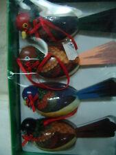 "VINTAGE/ANTIQUE BIRDS 4 CHRISTMAS ORNAMENTS 5 1/2""  LONG W/BOX"