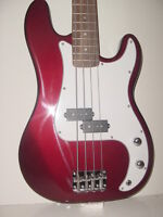 "NEW 46"" Full Size 4 String Metallic Red Electric Bass Guitar with Gig Bag Case"