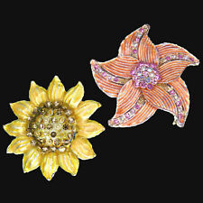 Flower Brooches Pins Rhinestones Yellow and Peach Lot of 2