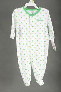 "Carter's Infant Bodysuit White Green Shamrock Clover  ""My 1st St Patty's"" 6 M"